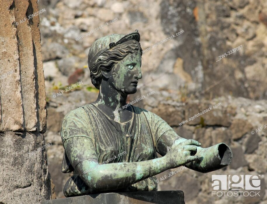 Stock Photo: Bronze statue of Diana the huntress in The Temple of Apollo in Pompeii in Italy.