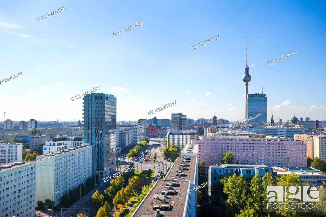 Stock Photo: View over Berlin Alexanderplatz with Fernsehturm (TV Tower) and apartments.