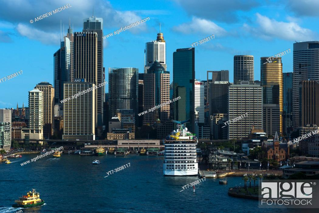 Stock Photo: Aerial view of Circular quay and Sydney skyline, New South Wales, Australia.