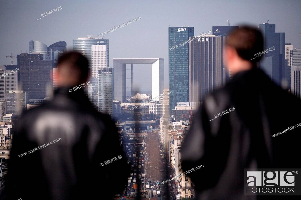 Stock Photo: The view of La Defense from the viewing platform of Arc de Triomphe. Paris. France.
