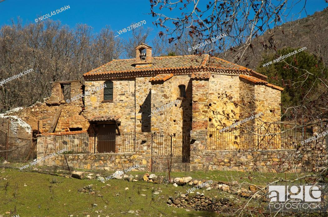 Stock Photo: Hospital del Obispo, Navatrasierra, Las Villuercas, Los Ibores and La Jara geopark, Cáceres province, Extremadura, Spain.