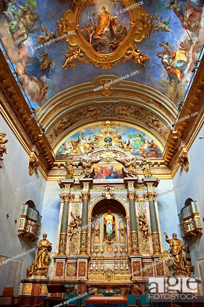 Stock Photo: Baroque altar of the Oratario of the Fratenity of St  Anthony of Padua  Orario dell Fraternita S  Antonia di Padova  Assisi Italy.