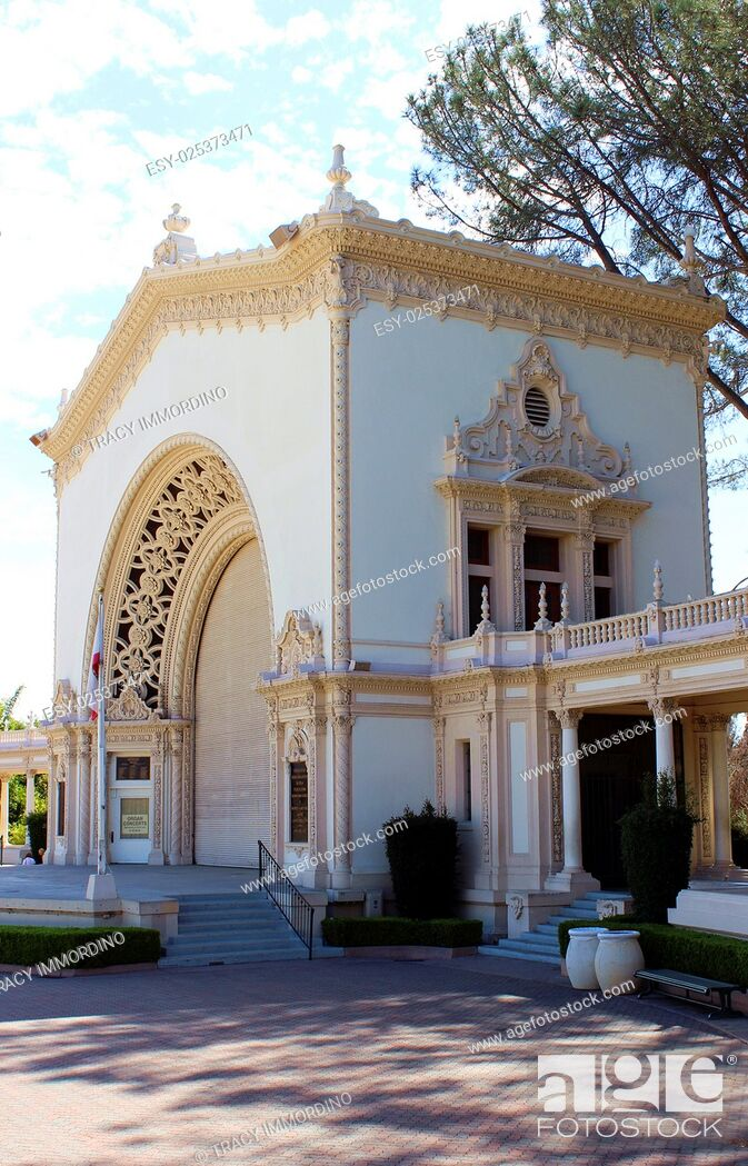 Stock Photo: Side view of Spreckels Organ Pavilion at Balboa Park, San Diego, California, USA.