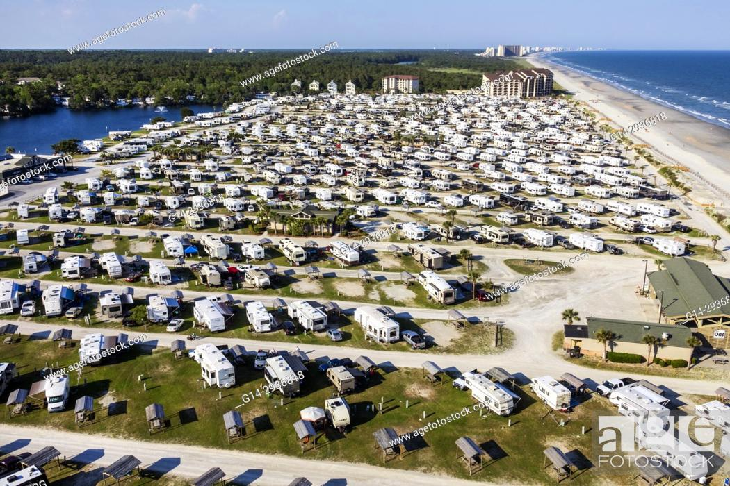 Stock Photo South Carolina Sc Atlantic Ocean Myrtle Beach Rv Travel Park Recreational Vehicles Caravan Campground Aerial
