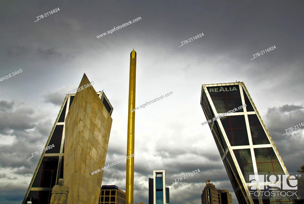 Stock Photo: A vision of a square of Madrid city.
