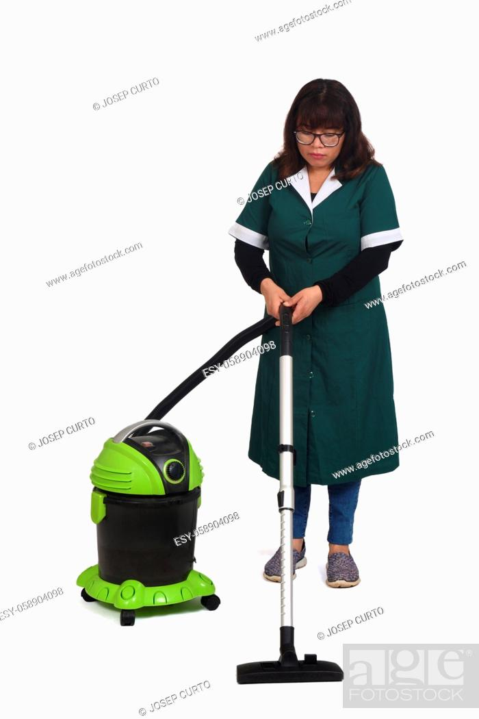 Stock Photo: woman vacuuming on white background.