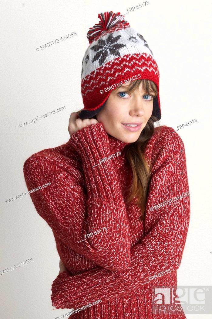 Stock Photo: Young woman in a winter pullover.