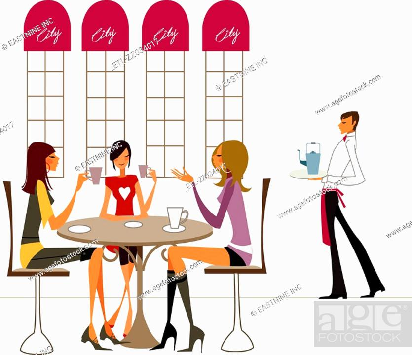 Stock Photo: Three women sitting on chairs and holding tea cups with a waiter holding a tray in the background.