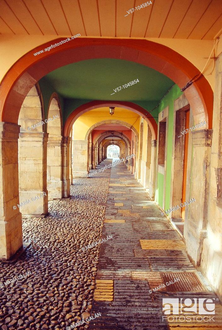 Stock Photo: Arcade, Galiana street. Avilés, Asturias province, Spain.