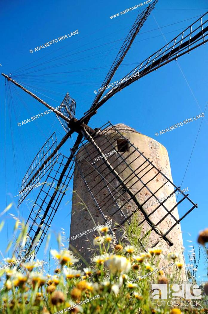 Stock Photo: Windmill, Formentera, Balearic Islands, Spain.