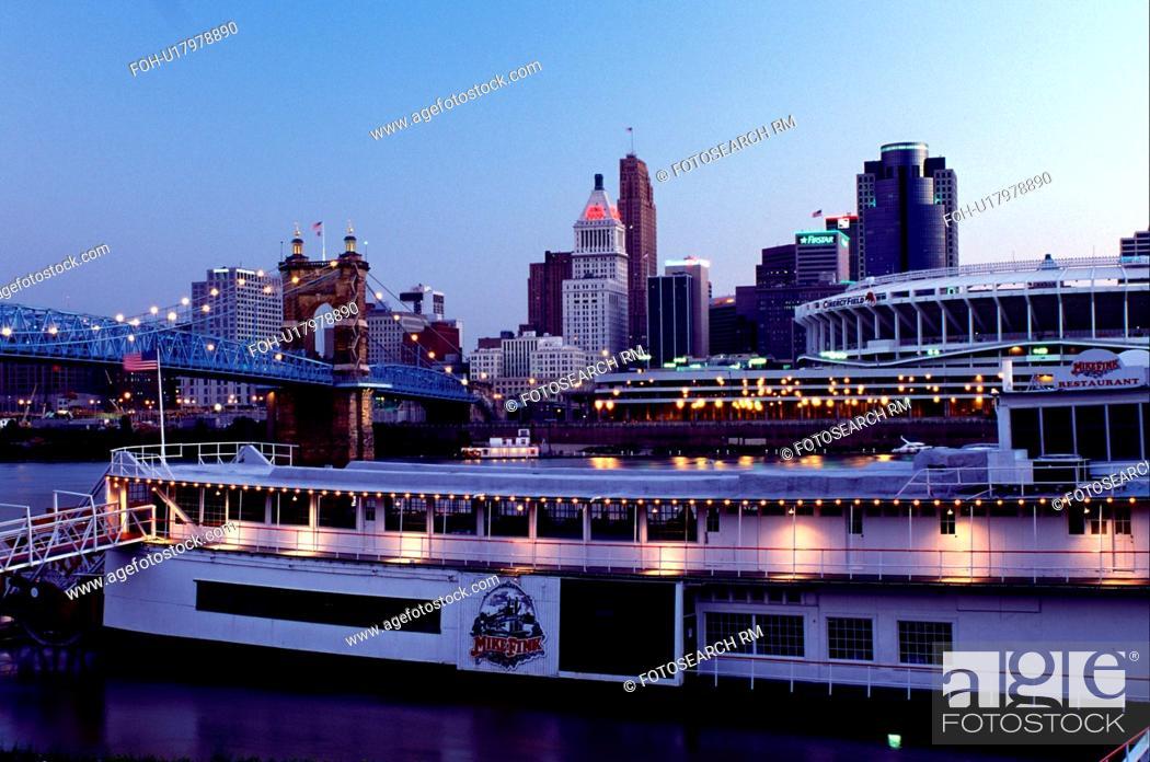 Riverboat Cincinnati Oh Ohio Downtown Skyline Mike Fink