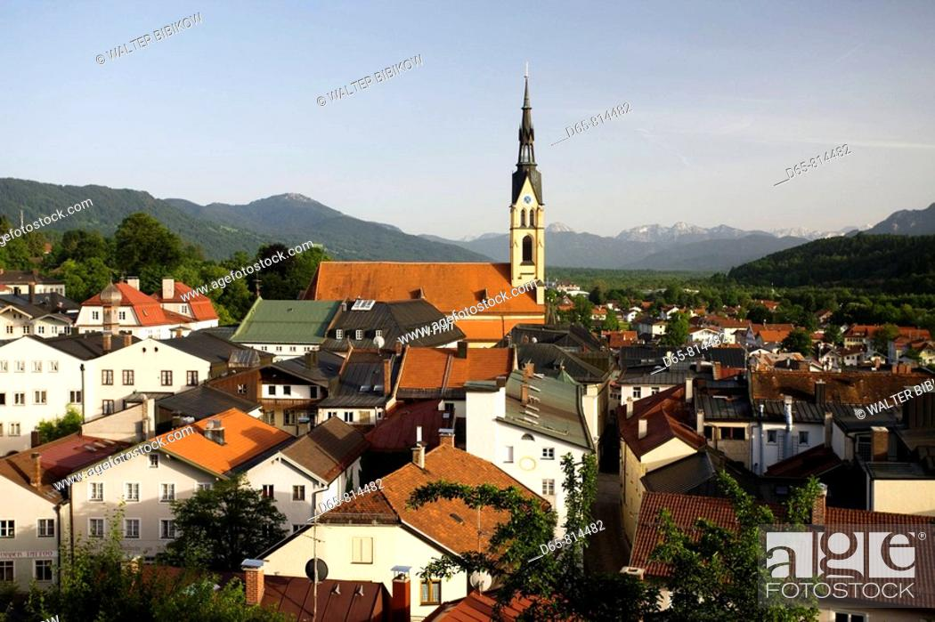 Stock Photo: Town overview, Bad Tolz, Bavaria, Germany.