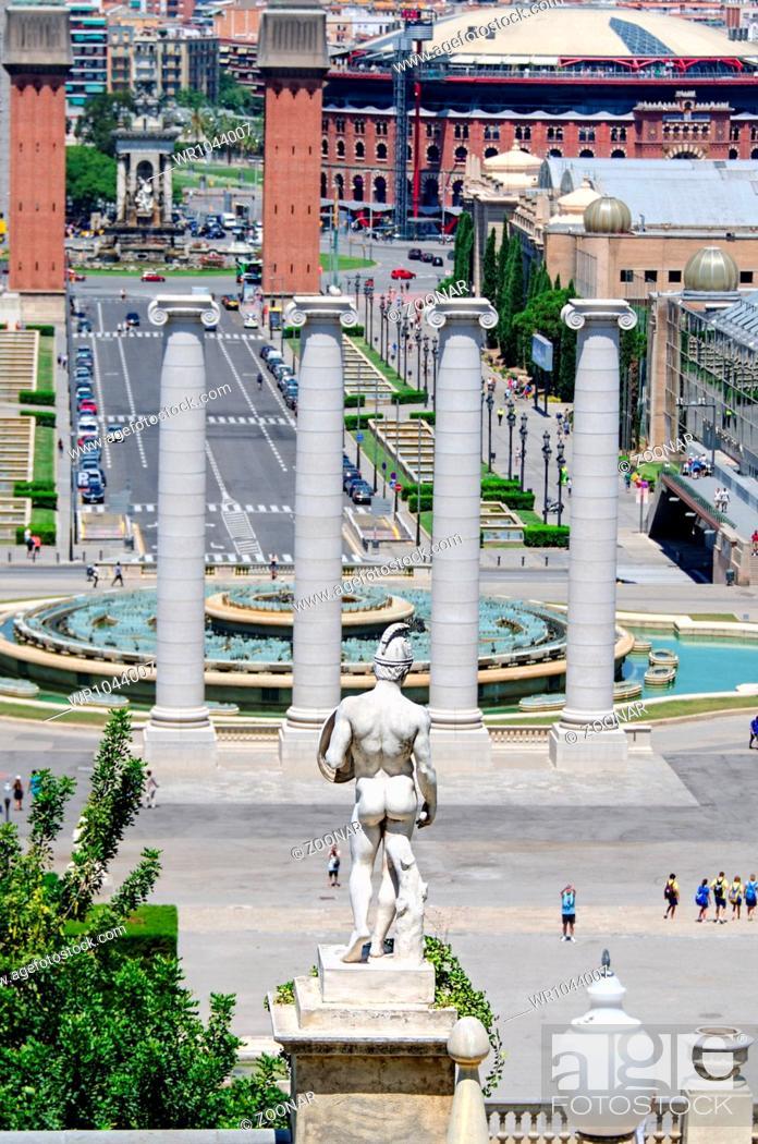 Stock Photo: Montjuic columns and fountain on Plaza de Espana in Barcelona Spain.