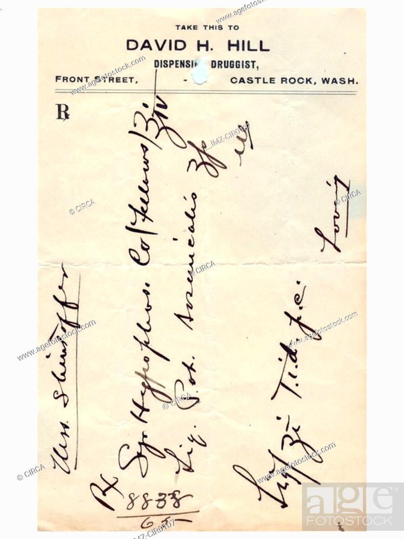 Stock Photo: A vintage handwritten medical prescription.