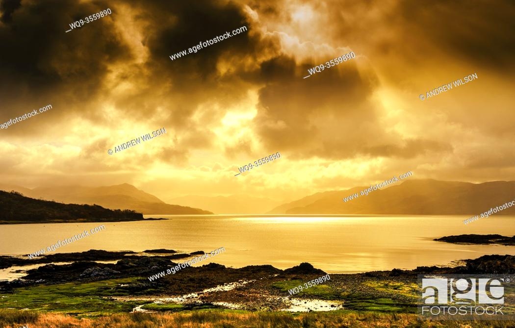 Stock Photo: Looking across Loch Hourn from the Island of Skye towards the Scottish Mainland.