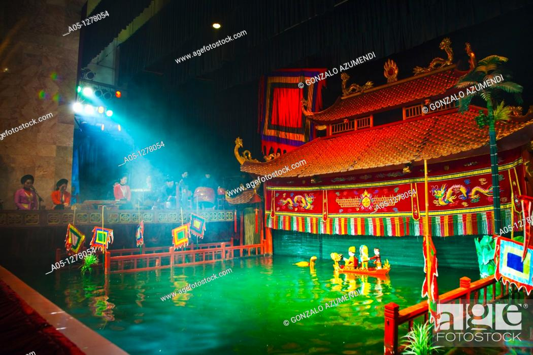 Stock Photo: Roi nuoc Water Puppet originating in the Red River Delta in Theater Thang Long  Hanoi  Vietnam.