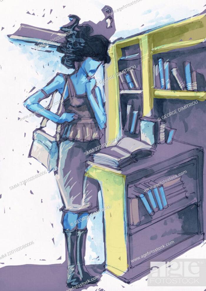 Photo de stock: Woman in a bookstore reading a book.