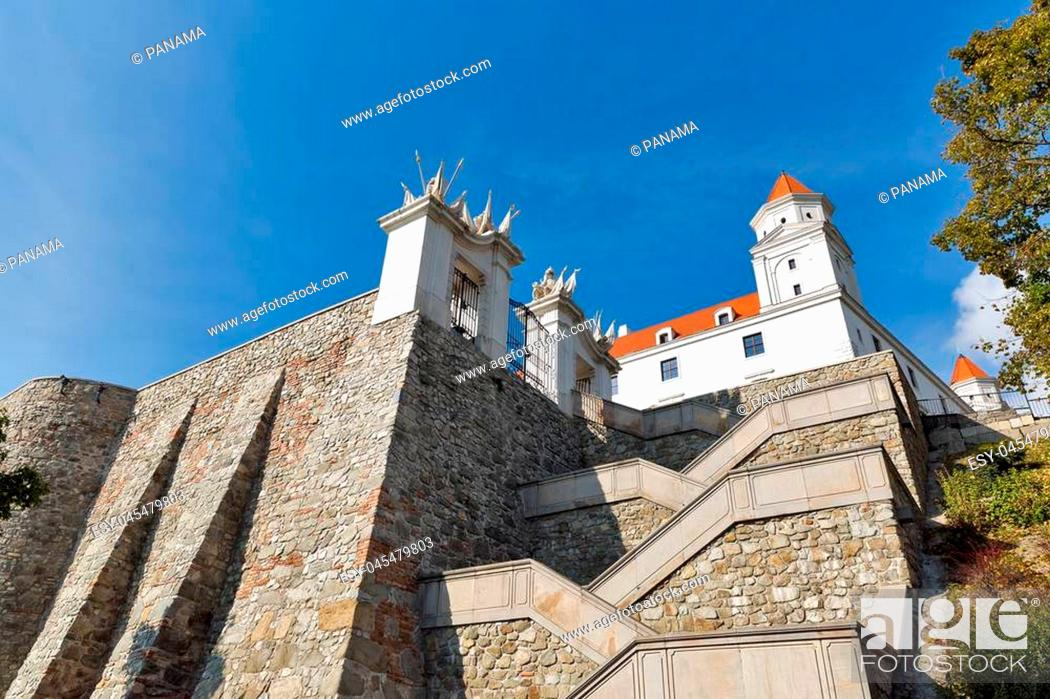Stock Photo: Gate, tower and stairs to the Bratislava Castle against clear blue sky, Slovakia.