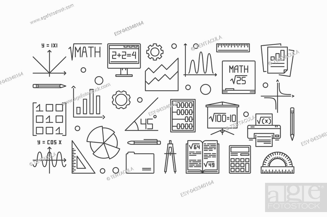 Stock Vector: Mathematics vector thin line banner. Vector linear education and science concept banner on white background.