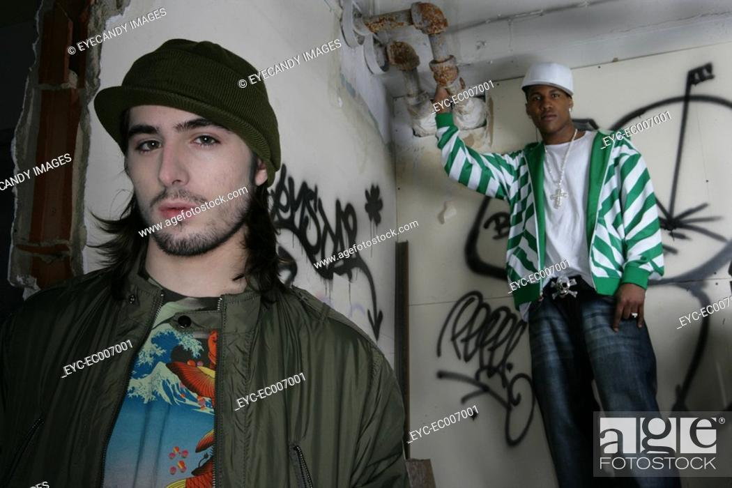 Stock Photo: Two young urban men.