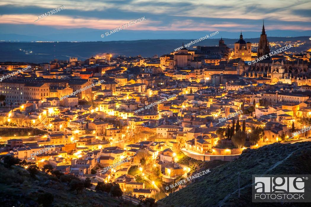 Stock Photo: Panorama of Toledo old town at nightfall, Castilla-La Mancha, Spain.