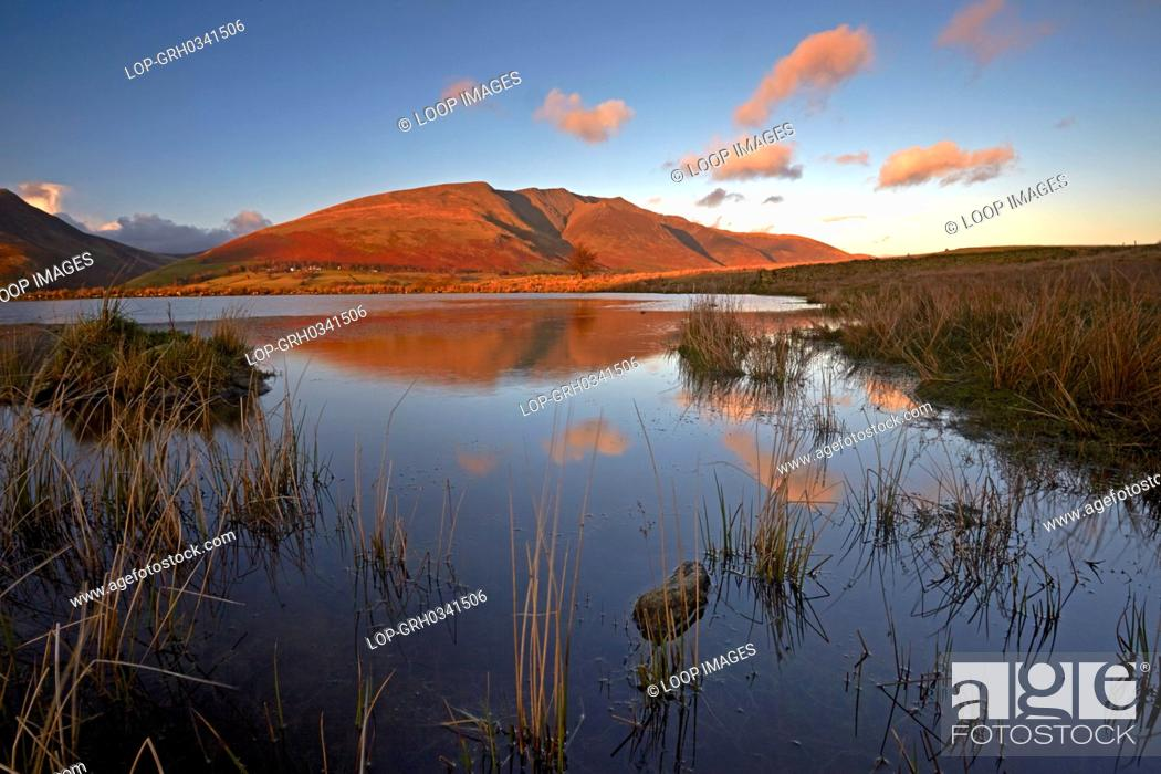 Stock Photo: A view of Blencathra from Tewet Tarn.
