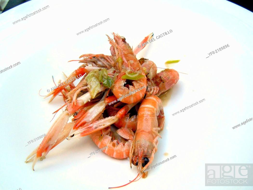 Stock Photo: Some fresh and cooked crayfish tapas, ready to eat. Spain.