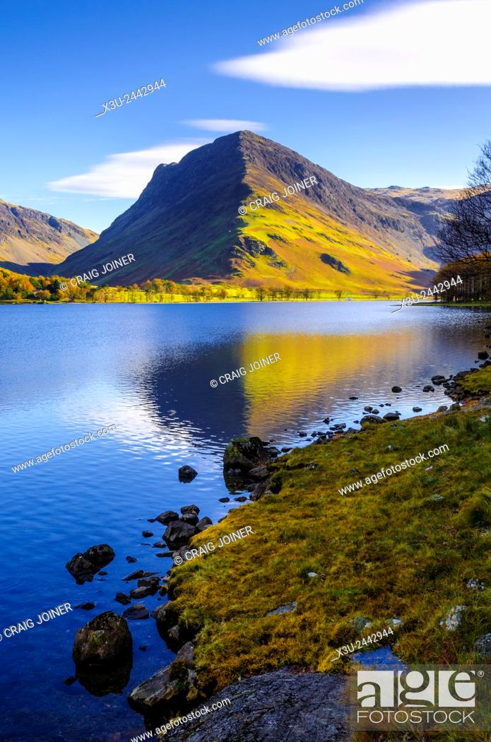 Stock Photo: Buttermere lake and Fleetwith Pike in the Lake District, Cumbria, England.