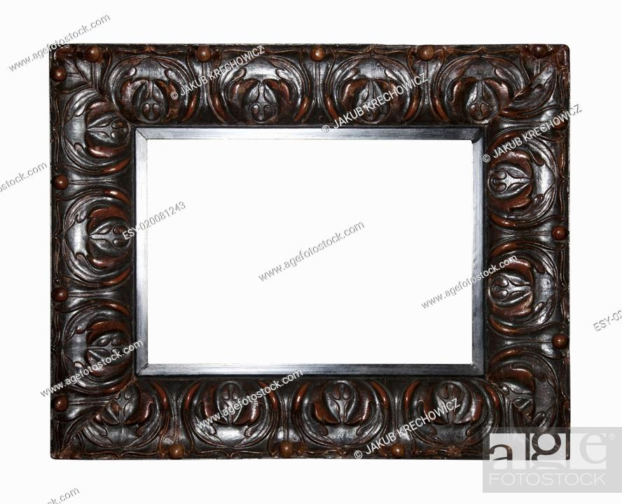 Stock Photo: Old dark brown picture frame.