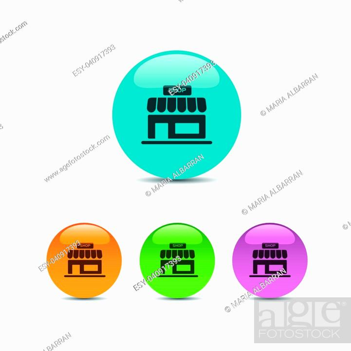 Vector: Shop icon on a colored round buttons.