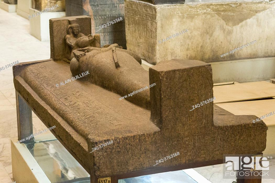 Stock Photo: Egypt, Cairo, Egyptian Museum, granite outer sarcophagus of king Psusennes I, reused from king Merenptah. Found in the royal necropolis of Tanis.