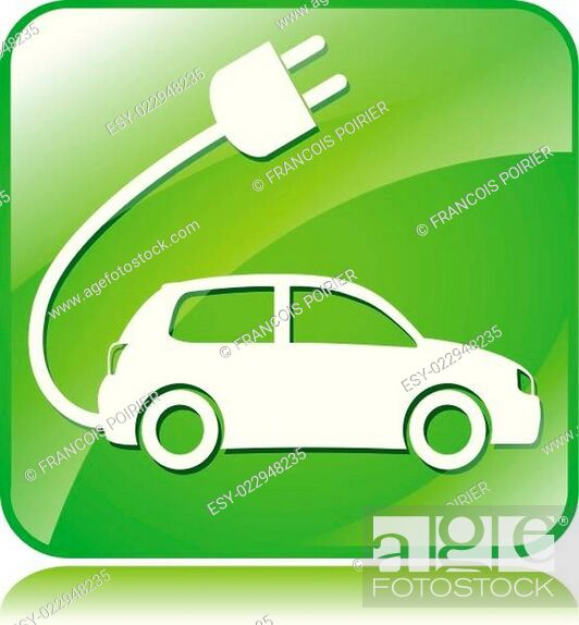 Stock Vector: electric car icon.