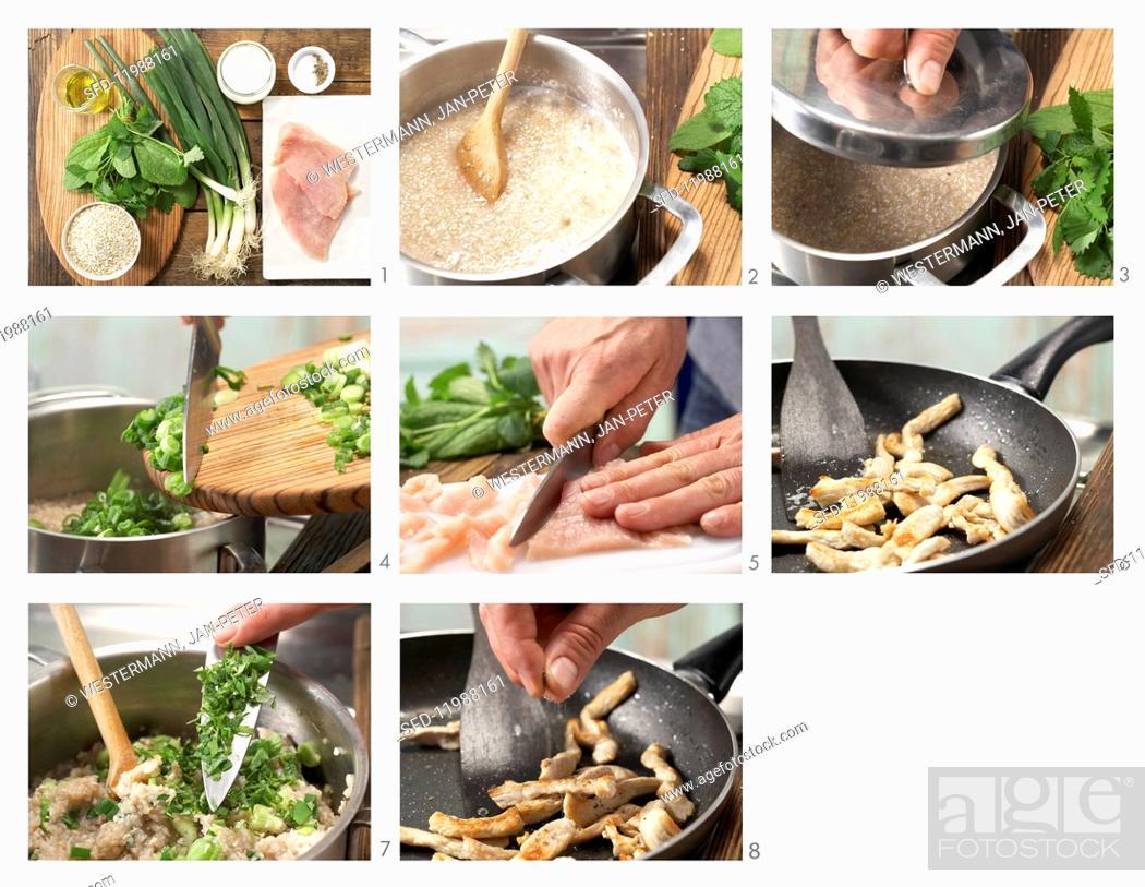 Stock Photo: How to prepare buckwheat & herb porridge with turkey strips and yoghurt.