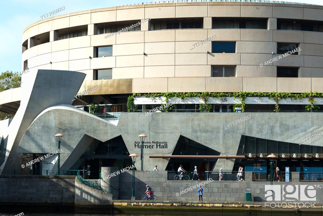 Stock Photo: Hamer Hall Southbank Arts and Leisure Precinct on River Yarra Melbourne Australia.