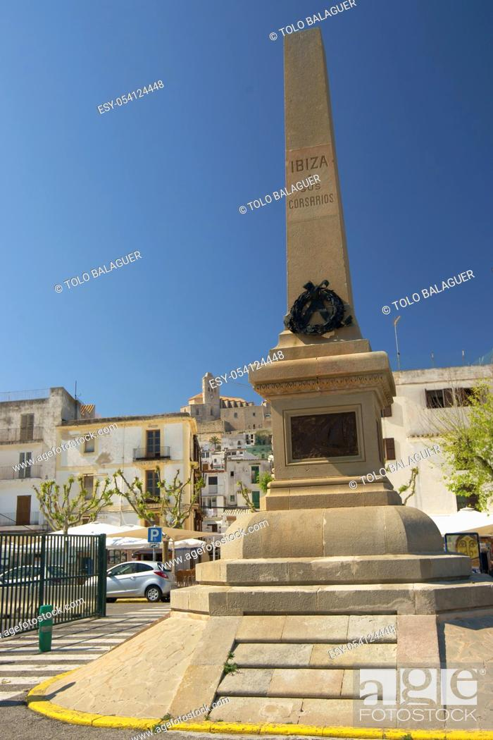 Stock Photo: Monumento a los corsarios. Puerto de Eivissa. Ibiza. Illes Balears. España.