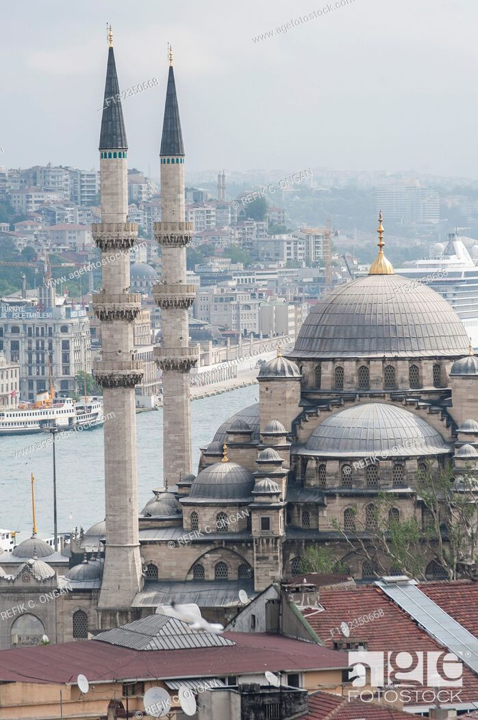 Stock Photo: New mosque and golden horn and the Pier in Eminonu district.