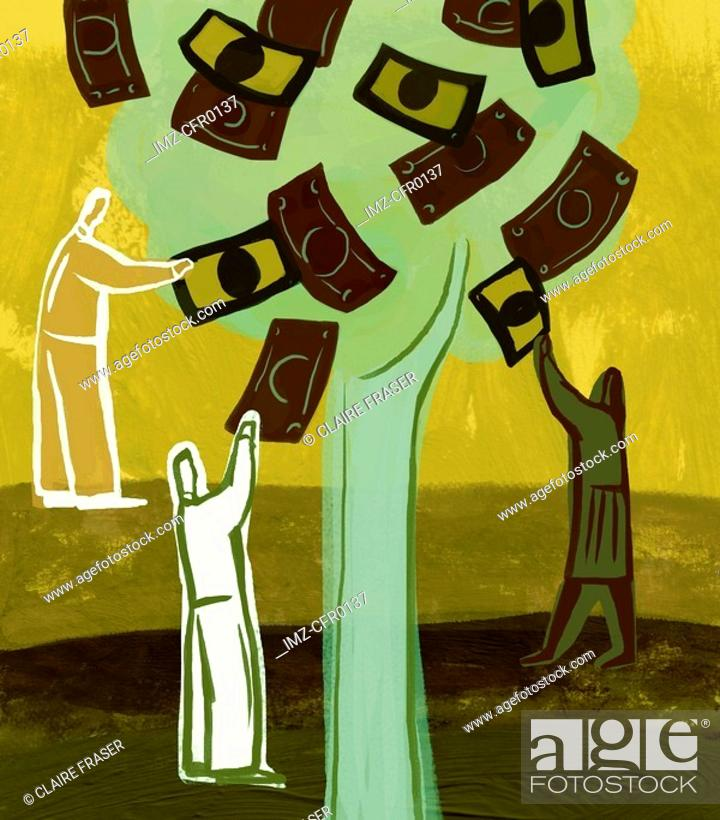 Stock Photo: An illustration of people picking money from a tree.