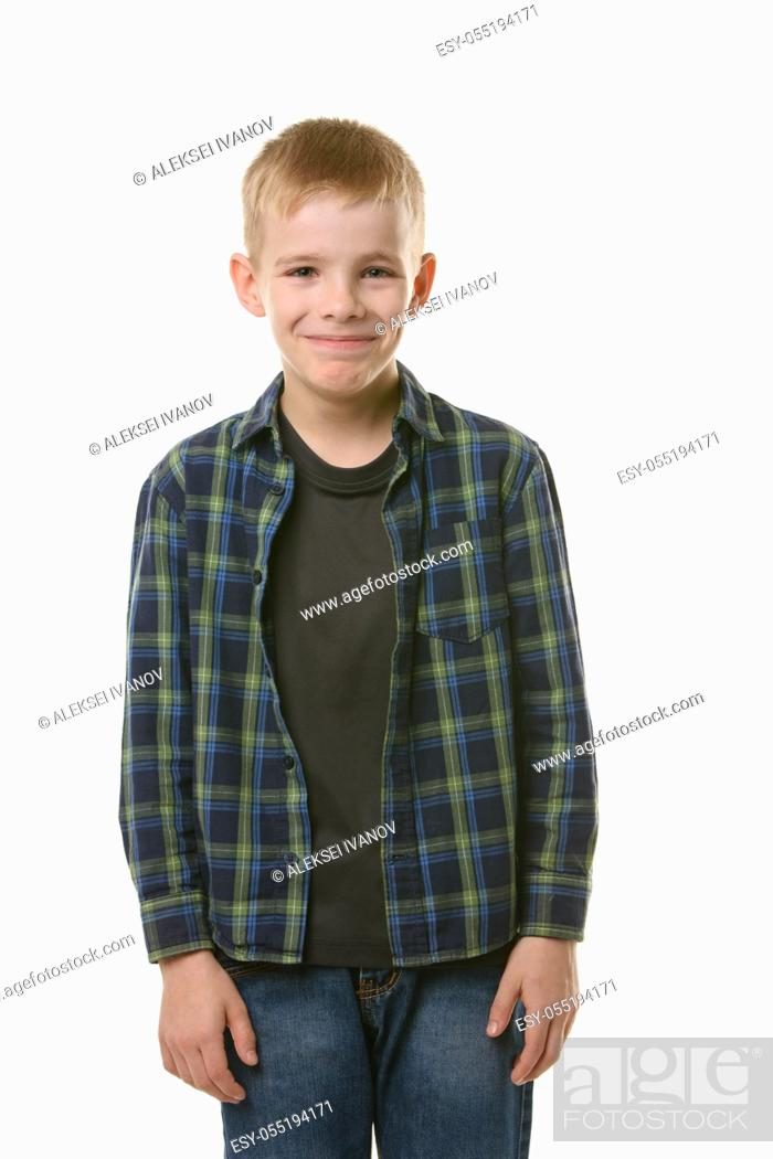 Stock Photo: Portrait of a laughing young man of ten years on a white background.
