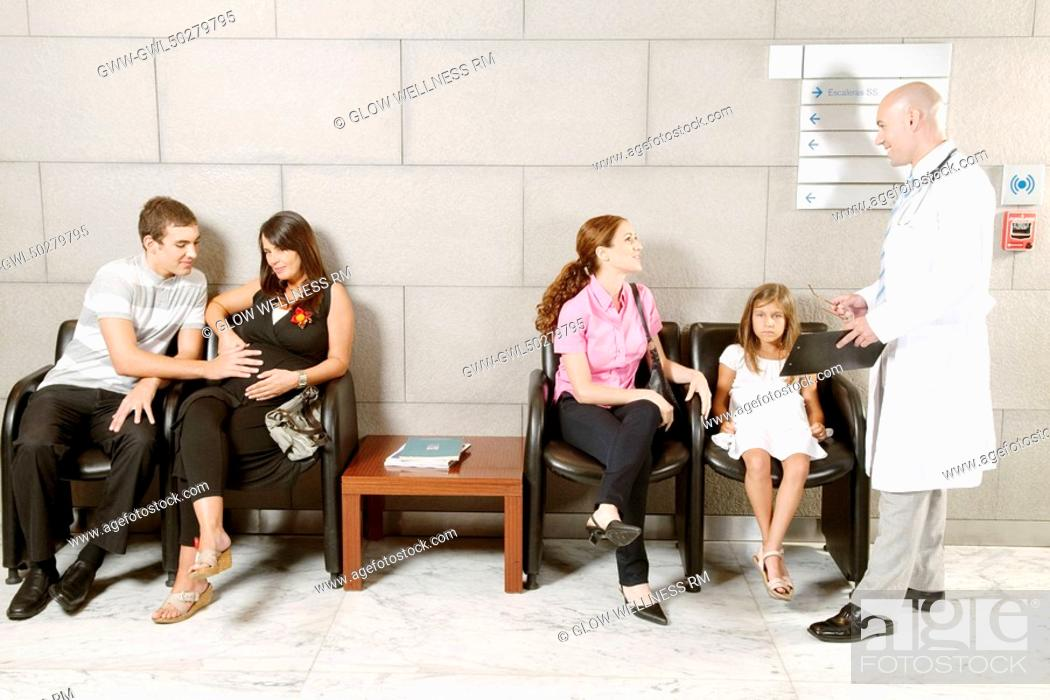 Stock Photo: People at a hospital.