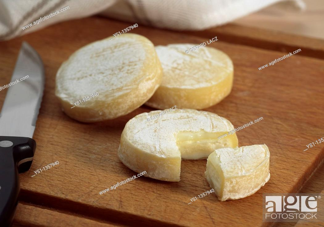 Stock Photo: ROCAMADOUR, FRENCH GOAT CHEESE.