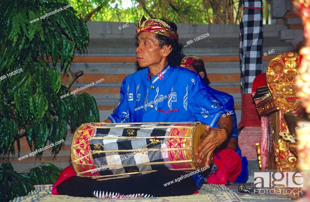 Stock Photo: Gamelan musician in Tulamben, Bali, Indonesia.