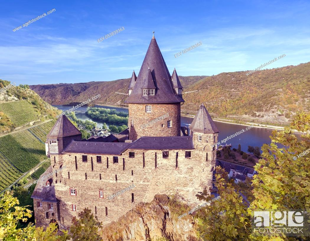 Stock Photo: View of the Castle Stahleck, the village Bacharach and the Rhine Valley. Rhineland-Palatinate, Germany, Europe.