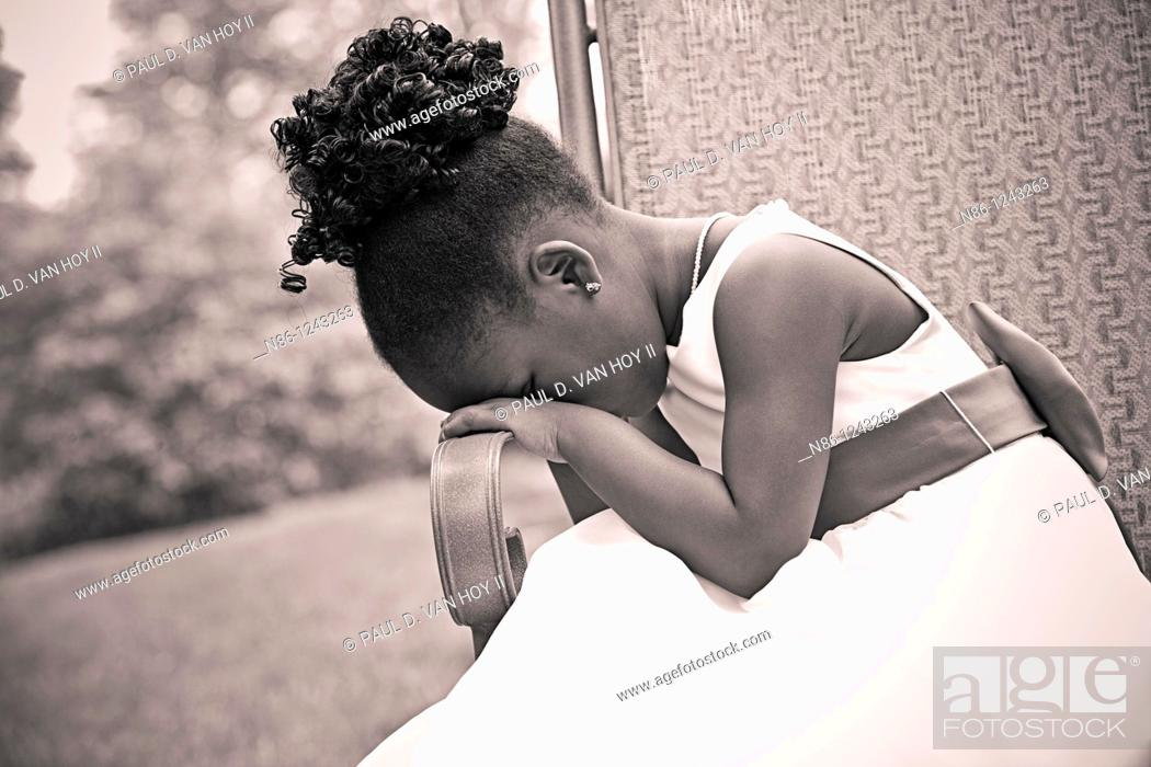 Stock Photo: Sad girl in wedding ceremony.
