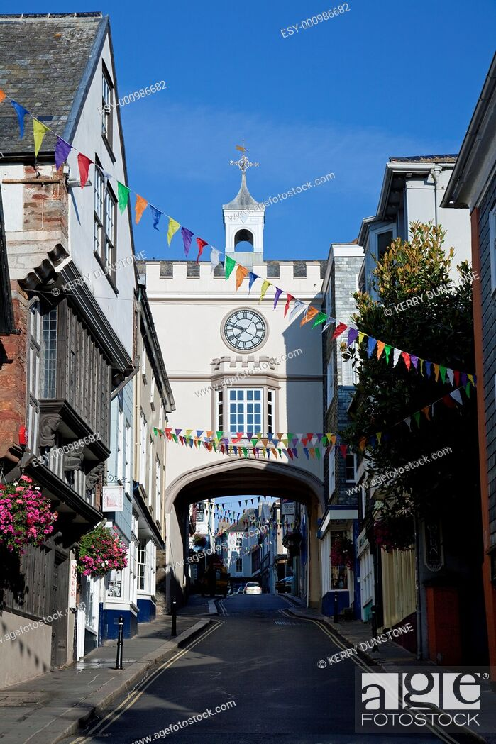 Stock Photo: England Devon Totnes Fore Street and The East Gate.
