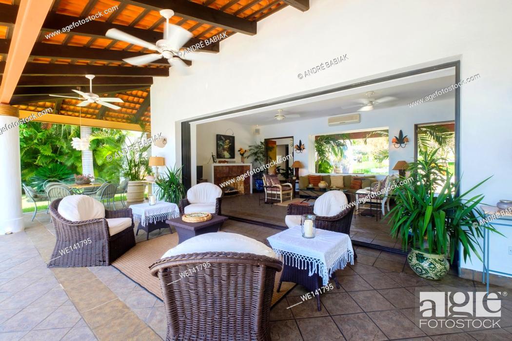 Stock Photo: Upscale Mexican Residence - patio and livingroom, Punta de Mita, Riviera Nayarit, Mexico.