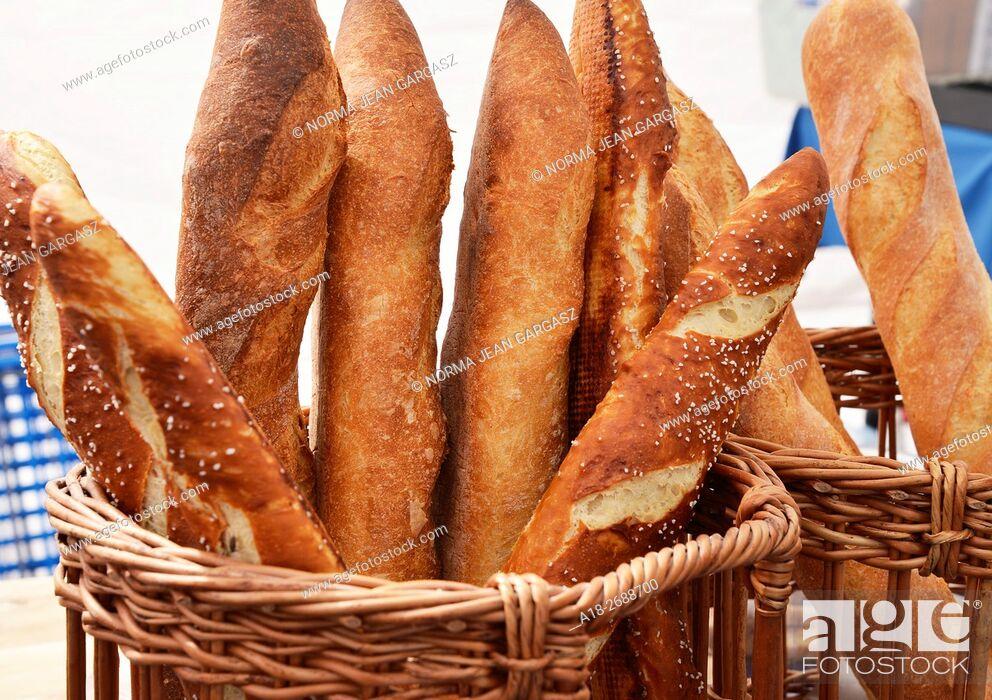 Stock Photo: Artisan and French bread, Farmers Market, Tucson, Arizona, USA.