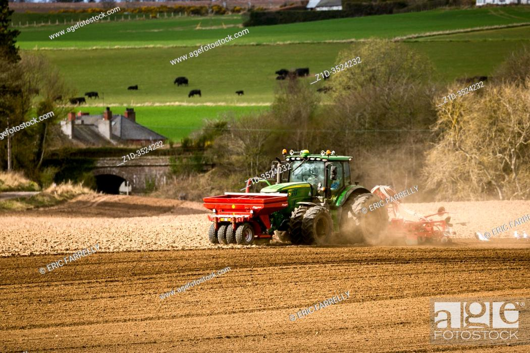 Stock Photo: Spring planting . SCotland. Agricultural implements.