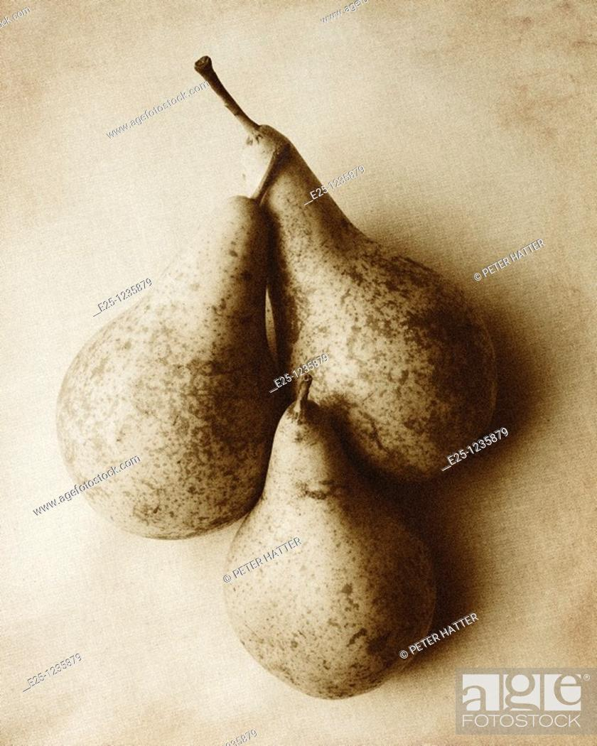 Stock Photo: Three pears arranged in a still-life composition in a monotone and textured finish with a grain effect.