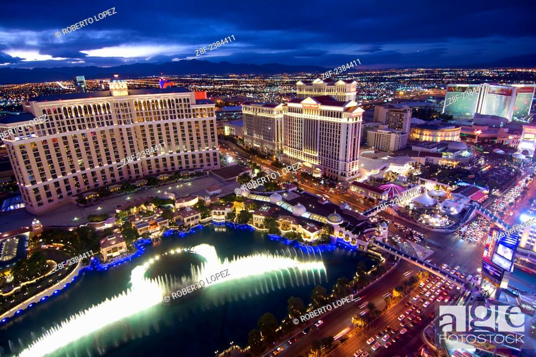 Stock Photo: The view from atop the Paris Tower replica at the Las Vegas Boulevard, with the water show, Nevada, USA, the last day of 2014.