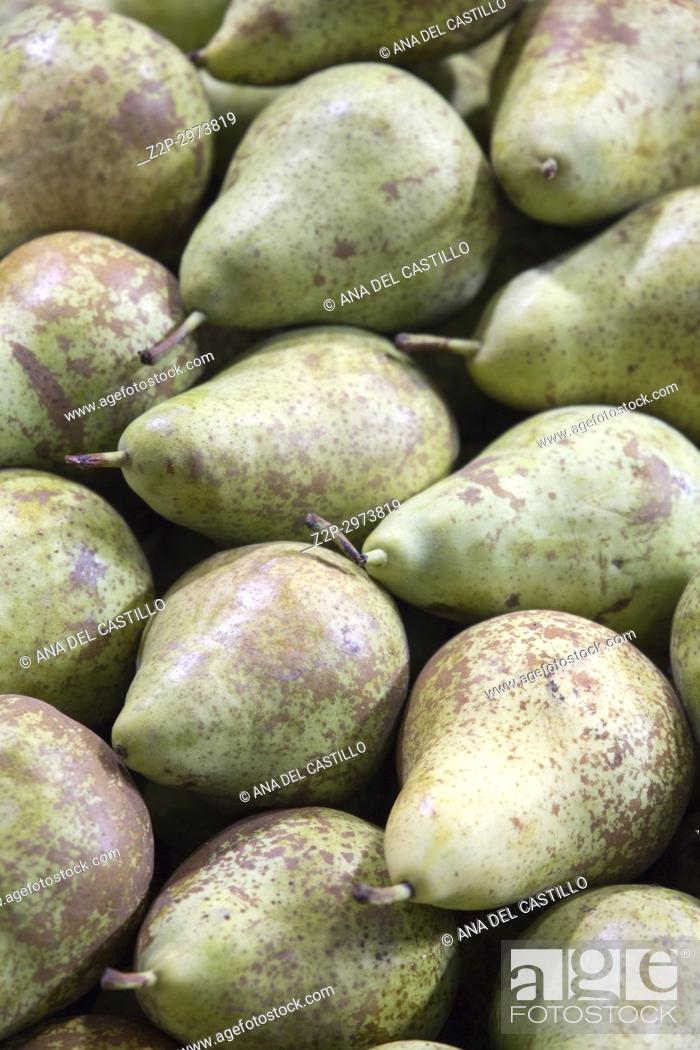 Stock Photo: Pears at market, Spain.